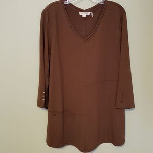 Simply Noelle V-Neck Tunic Brown Size L/XL 12-14